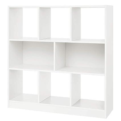 SONGMICS Wooden Bookcase Open Cubes Shelves Free Standing Bookshelf Storage Unit Display Cabinet 339