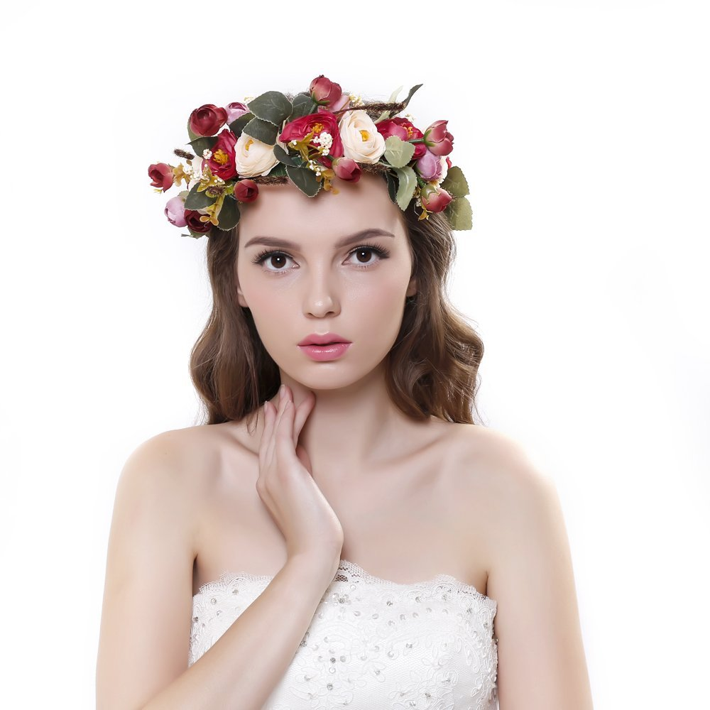 Amazon valdler xmas holiday christmas vintage nature berries ever fairy women handmade rose flower wreath crown wedding festivals garland crown izmirmasajfo