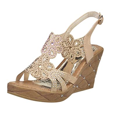 93af6af762330 Amazon.com: My Heat Women's Wedge Sandals with Rhinestone Across The ...