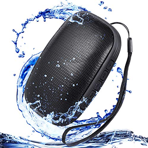 Waterproof IPX5 Portable Bluetooth Speakers, Water Resistant Wireless Speaker with 24 Hour Playtime Superior Sound and Enhanced Bass for Indoor/Outdoor(Black) by UBION