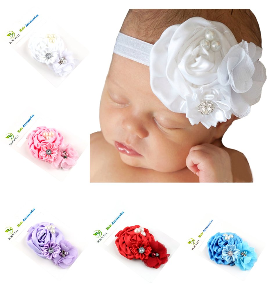 Roewell Baby-Girls' Hair Bows, Crystal Flower (5 Pack)