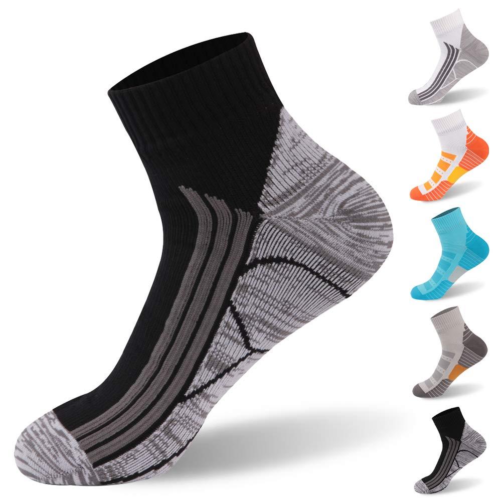 100% Waterproof Socks, RANDY SUN Anti Blister Running Socks Breathable High Visibility Unisex Running Hiking Socks, 1 Pair-Black-Ankle socks,Large by RANDY SUN