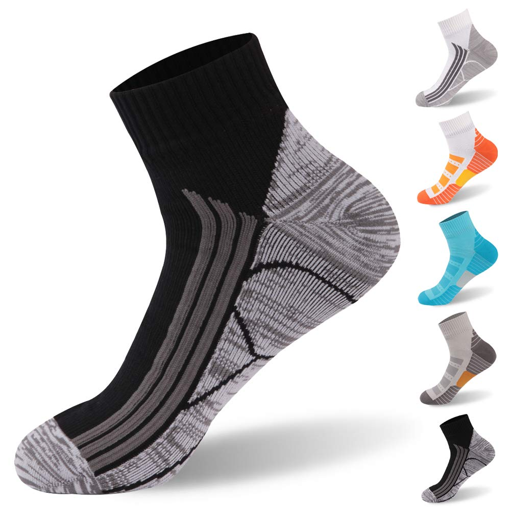 RANDY SUN 100% Waterproof Socks, Breathable High Visibility Unisex Running Hiking Socks, 1 Pair-Black-Ankle Socks,Medium