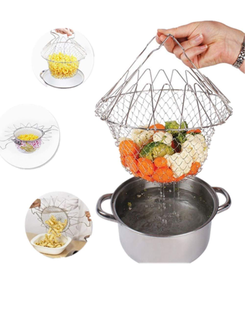 New chef basket Foldable Stainless Steel Fryer Basket, Safe and Not Hurt Your Hands(23cm*11cm) I Have a DREAM