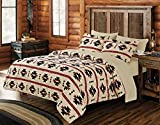 Virah Bella 7 Piece Southwest Native Comforter and Sheet Set (Queen, Beige)