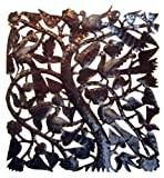 outdoor wall decor metal square - Le Primitif Galleries Haitian Recycled Steel Oil Drum Outdoor Decor, 33 by 33-Inch, Square Tree of Life