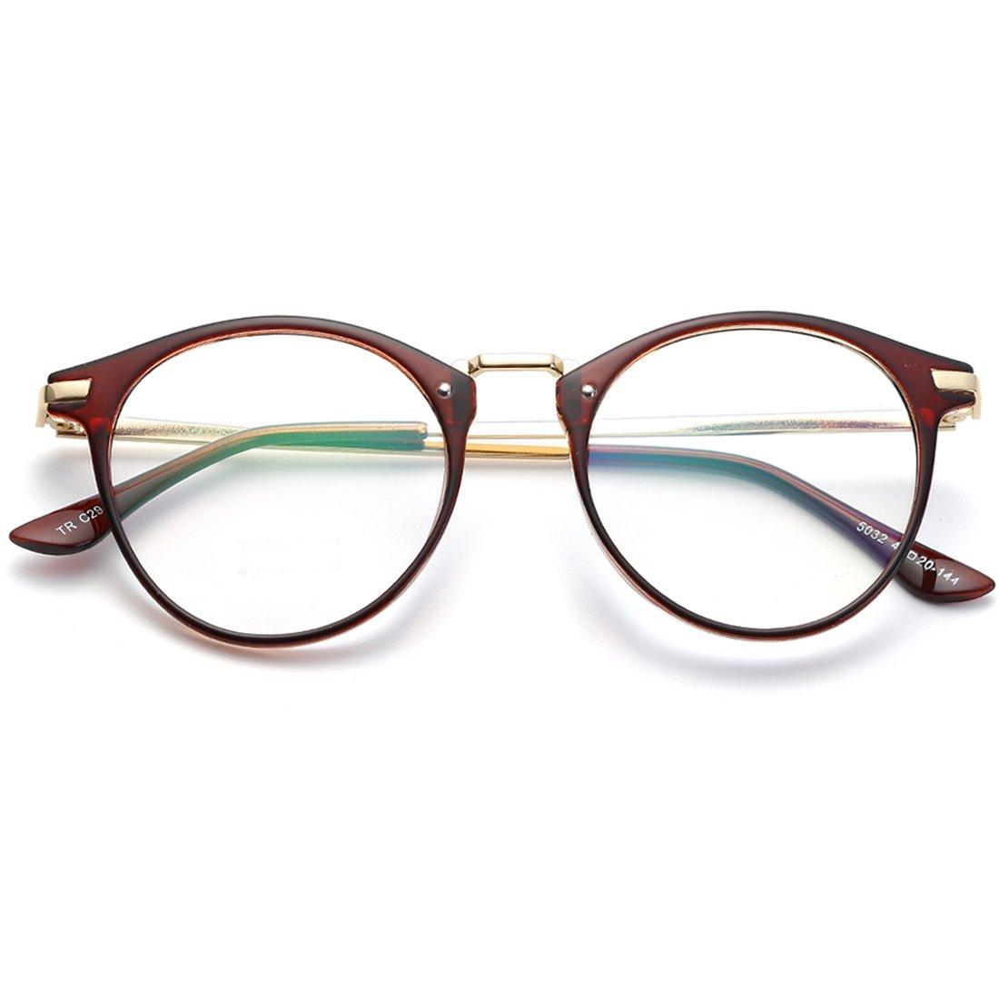 VEVESMUNDO Eyewear Retro Round Metal Frame Eyeglasses Horn Rimmed ...