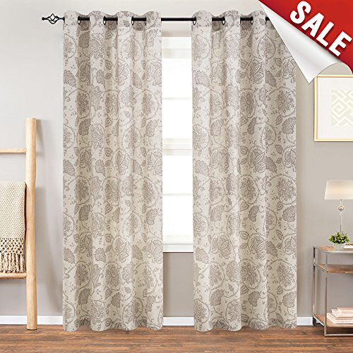 Paisley Scroll Printed Linen Curtains, Grommet Top- Medallion Design Burlap Vintage Living Room Window Treatment Set (Taupe, 50