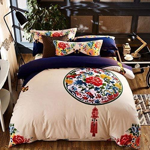 寝具布団カバー 秋と冬の綿4ピース中国の綿のキルトの中国民謡風の厚手のシーツ1.8寝具 超ソフト低刺激性 (色 : 1.5m (5 Feet) Bed, サイズ : Static color ink) 1.5m (5 Feet) Bed Static color ink
