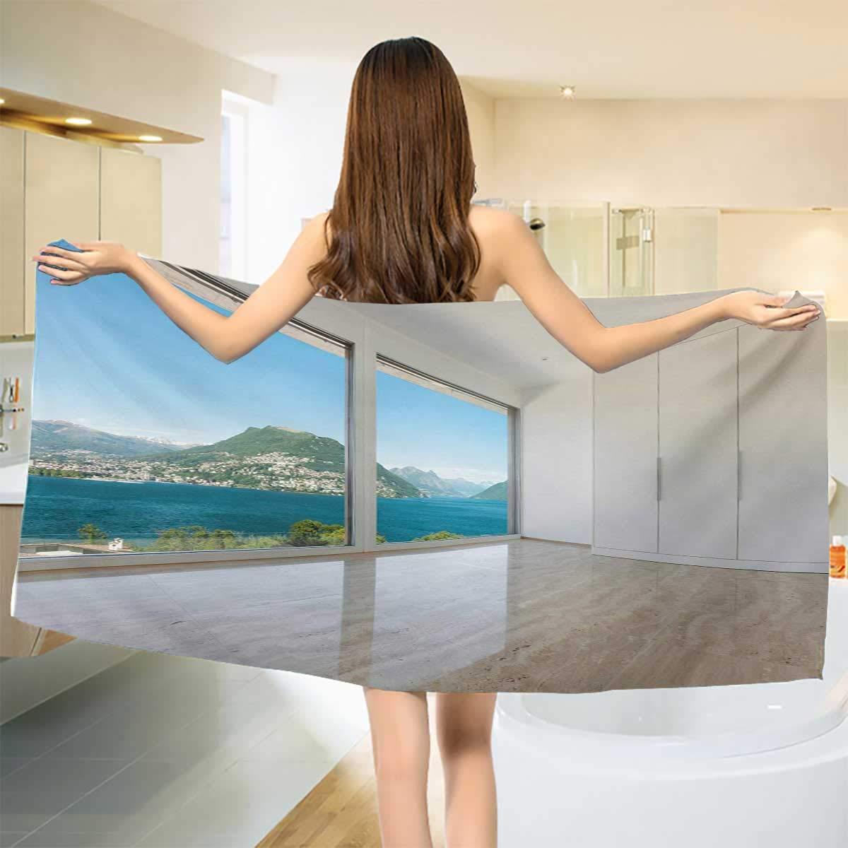 Modern,Bath Towel,Interior of Penthouse Empty Living Room Large Windows Sea Mountains View Art,Bathroom Towels,White Blue Beige Size: W 27.5'' x L 55''