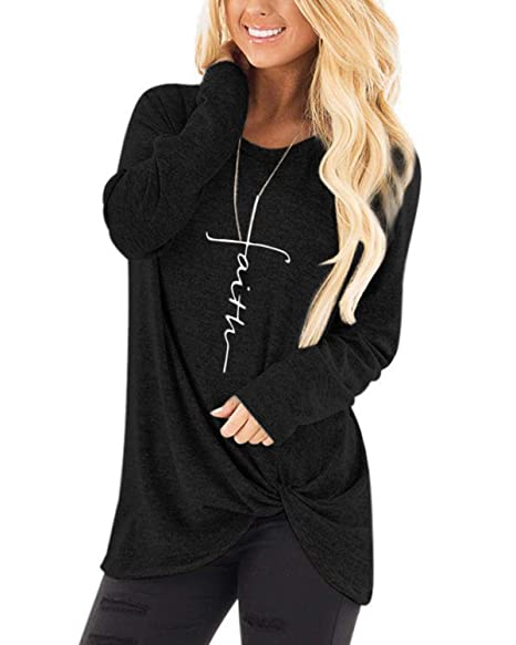 d9336fd4 AELSON Women's Faith Printed Tees Tops Long Sleeve Twist Knot Side T Shirt  Casual Fit Blouse