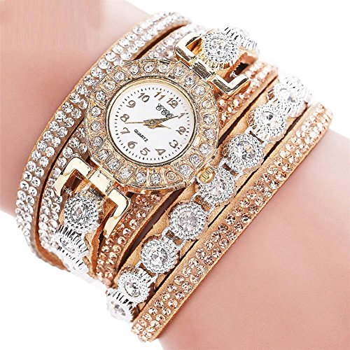 Start Women Multilayer Bracelet Rhinestone Leather Casual Watch -CCQ (Beige)
