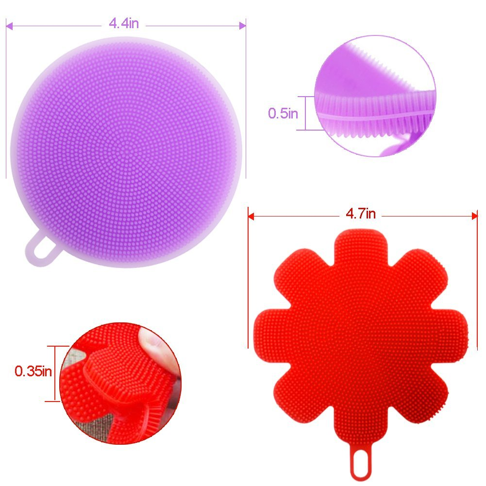 Silicone Sponge Multipurpose Antibacterial Silicone Scrubber for Kitchen Brush Pot Pan Dish Bowl -Wash Fruit and Vegetable -Pot Holder (4, Purple+red)