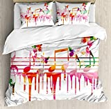 Our Wings Music Comforter Set,Colorful Artwork Music Notes Clef Composer Orchestra Decorative Classic Bedding Duvet Cover Sets Boys Girls Bedroom,Zipper Closure,4 Piece Twin Size
