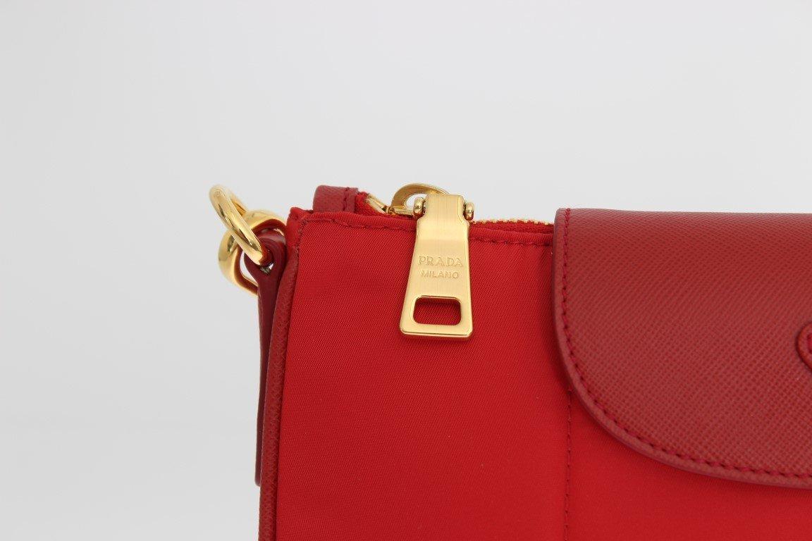 33f4869ca27a ... sale prada 19632 bt0933 rosso red tessuto saffian saffian messenger  nylon and leather crossbody messenger bag