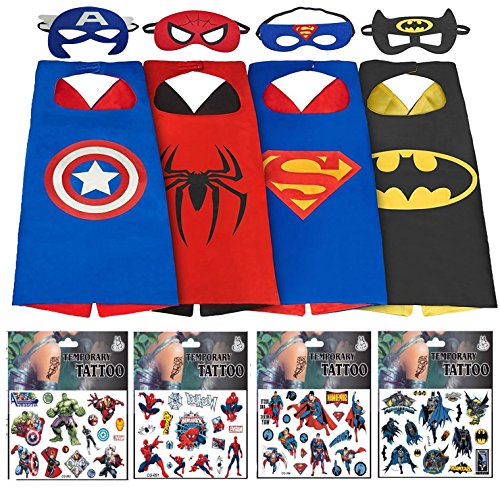 Halloween Superhero Costumes for Boys – 4 Capes and Masks + 4 Superhero Tattooes – Dress Up Kids Toys By (Batman Outfit Child)