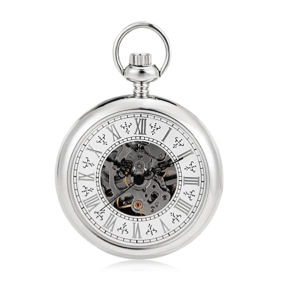 Simple Shining Silver Smooth White Roman Numerals Fashion Modern Pocket Watch Steampunk Skeleton Watch w/