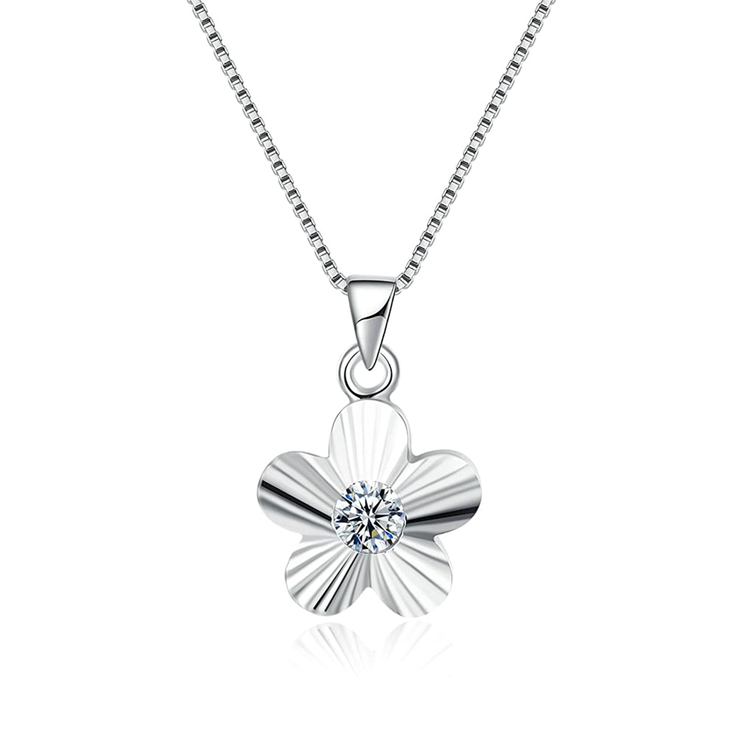 Adisaer Womens Silver Pendant Necklaces Five Petal Flower Type White Crystal Extender Chain 15.7 2