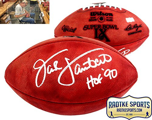 (Jack Lambert Autographed/Signed Wilson Authentic Super Bowl 9 NFL Football with
