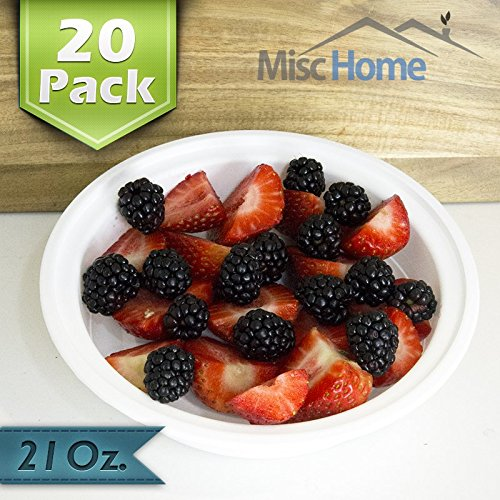 [20 Pack] White Round 21 Oz. Meal Prep Containers BPA Free Plastic (Round White Food)
