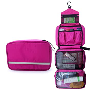 e1373a3f14 Amazon.com   Travel Toiletry Bag Business Toiletries Bag for Men Shaving Kit  Waterproof Compact Hanging Travel Cosmetic Pouch Case for Women (Hot Pink)    ...