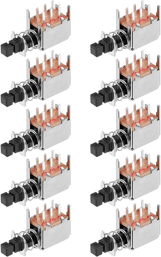 DPDT Interruttore a Bottone Self AGGANCIO BLOCCAGGIO 6 Pin DIP Montaggio su Scheda 7 x 7mm