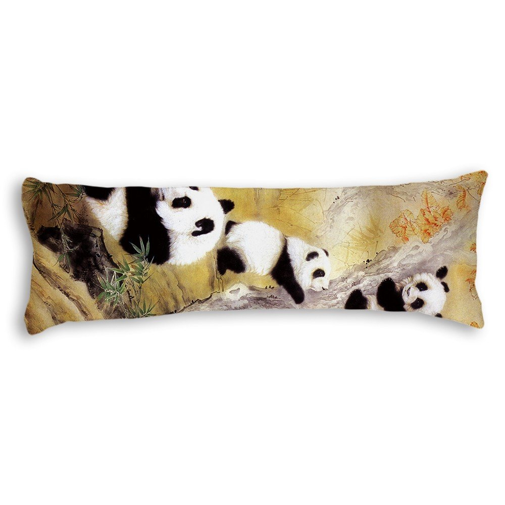 Poieloi Baby Panda Bear Animal Cotton Line Cushion Couch Decorative Body Pillow Covers Cases 20''x54''