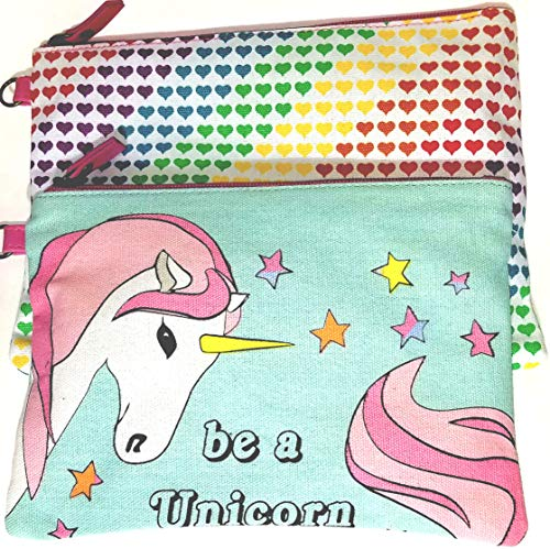 Canvas Clutch Bag/Makeup Bag, Set Of Two Stylish Glam Bags (Be A Unicorn)