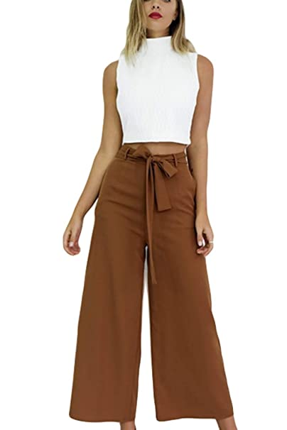 Pantalon Mujer Elegante Verano Culotte Cintura Alta Color Sólido Pantalones  Palazzo Fiesta Estilo Anchos Casuales Aireado Pantalon Anchos con Cinturón  Niña  ... 3898cba4db16