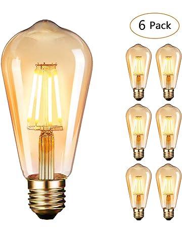 Dobee Bombilla LED E27, Edison Vintage Bombilla Cálido 4W ST64 2600-2700K 400LM Bombilla
