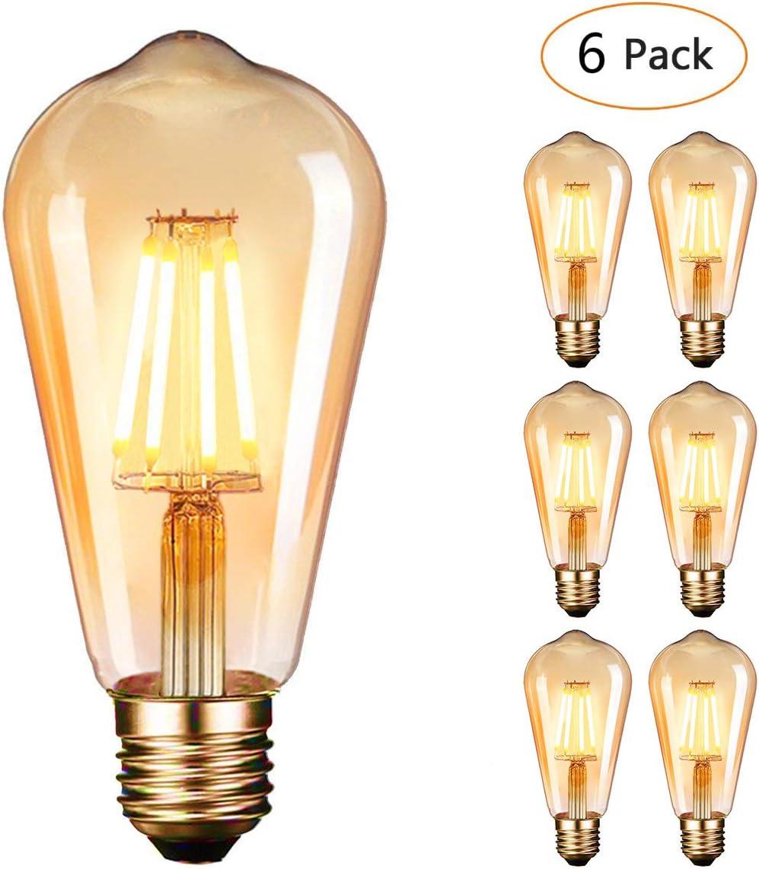 Dobee Bombilla LED E27, Edison Vintage Bombilla Cálido 4W ST64 ...