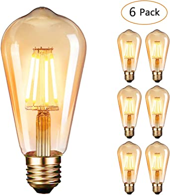 Ampoule LED Edison,Dobee Lampe Edison Vintage 4W 400LM 2600 2700K Angle de faisceau à 360° E27 ST64 Lampe Décorative Ampoules à incandescence Rétro
