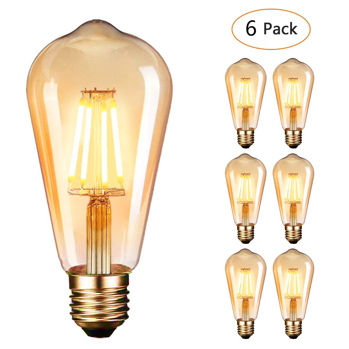 Vintage Light Bulbs,Dobee Edison Light Bulbs 4W (40W Equivalent) Led Filament Bulb, Amber Glow, ST64 E27 2600-2700K 360° Wide Angle Light Retro Antique Style Light 6 Pack [Energy Class A+++]