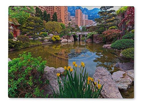 Gear New Cutting Board, View Of Monaco Garden Cote Dazur, 15x11 - Monaco Exotic Gardens