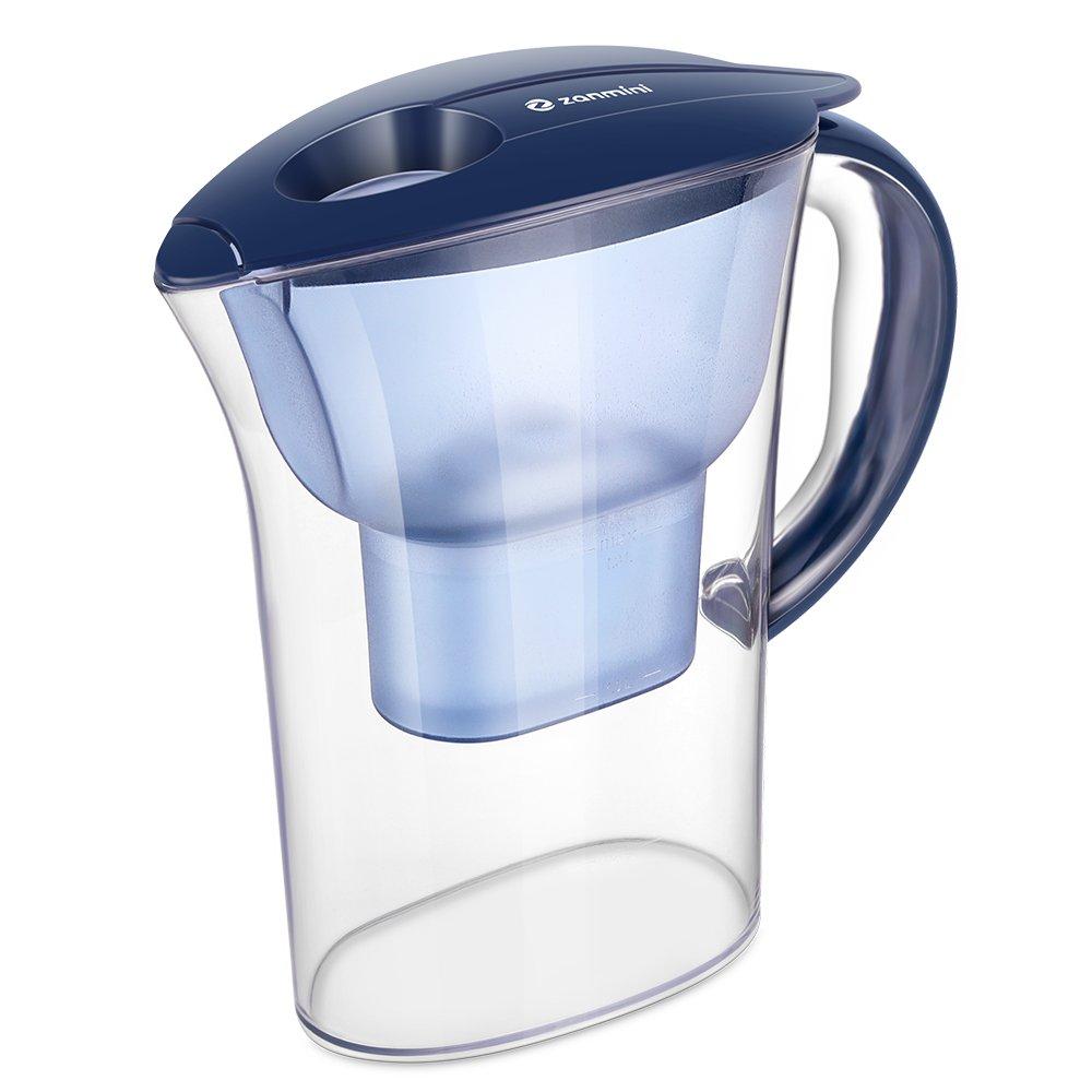 zanmini Caraffa filtrante per Acqua, brocca d'Acqua con Filtro capacità 2.5 L, Filtrazione Efficace Particelle di Carbone Attivo e Resina a scambio ionico(Blu Marino) GearbestIT