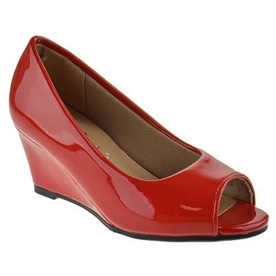 Link Doris 12K Little Girls Pull On Peep Toe Wedge Sandals Red Pat 10 | Platforms & Wedges