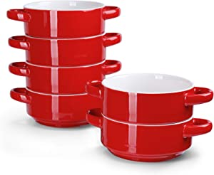 Sweese 108.604 Porcelain Bowls with Handles - 20 Ounce for Soup, Cereal, Stew, Chill, Set of 6, Red