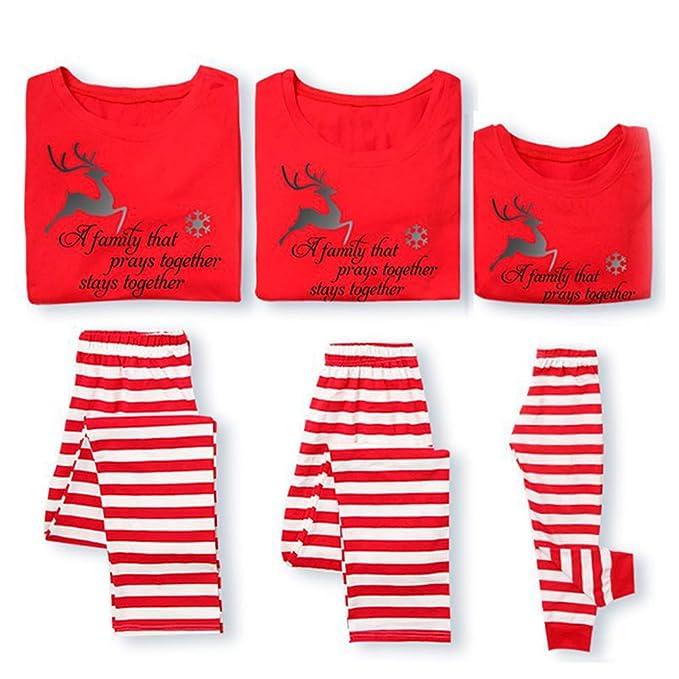 2c7fb47dd2 Amazon.com  Family Matching Pajamas Christmas Pyjamas Set Dad Mom Kid  Lougewear Nightwear  Clothing