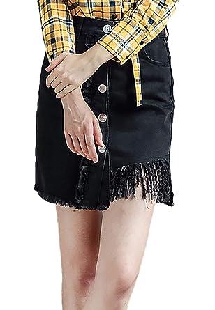 Falda Vaquera Mujer Fashion Cintura Alta Un Solo Pecho Slim Fit ...