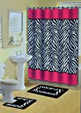 Pink Animal Print Shower Curtain Pink Zebra Stripes Animal Print 15 Pcs Shower Curtain w. Hooks Bathroom Rug Set