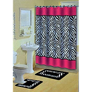 Amazon Com 17 Piece Bath Accessory Set Pink Zebra Shower