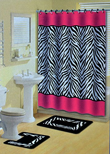 Lexus Pink & Black Zebra 15-Piece Bathroom Accessory Set: 2 Bath Mats, Shower Curtain & 12 Fabric Covered Rings