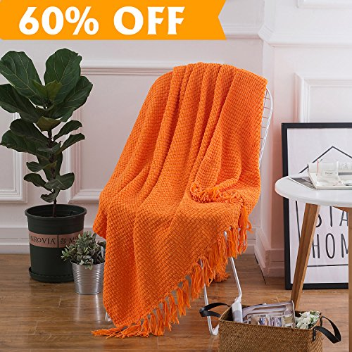 Lightweight Throw Blanket Orange Soft Plush Microfiber Sofa Couch Knit Blankets with Fringe (Throws Orange)