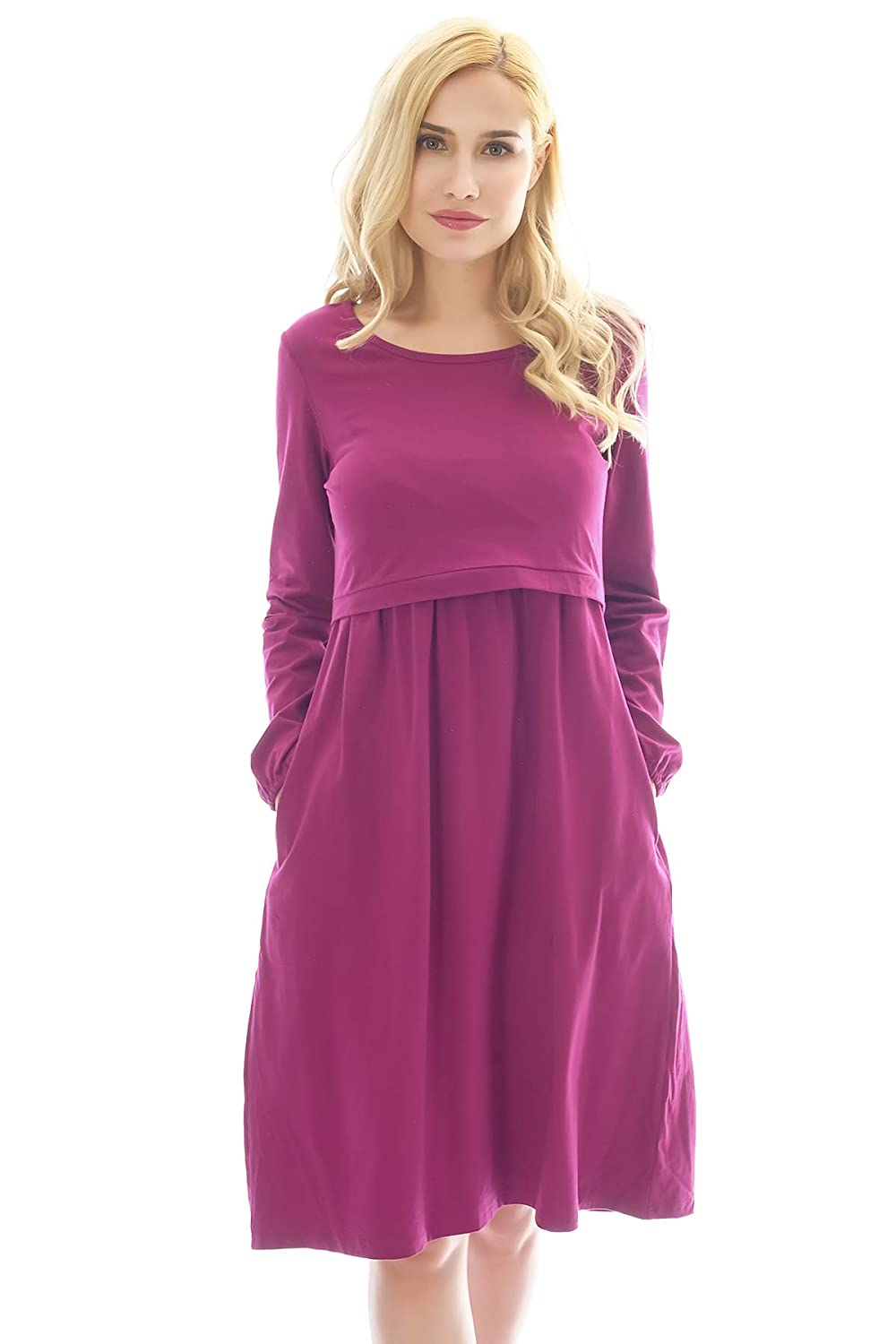 Bearsland Women's Long Sleeve Maternity Dress Empire Waist Nursing Breastfeeding Dress