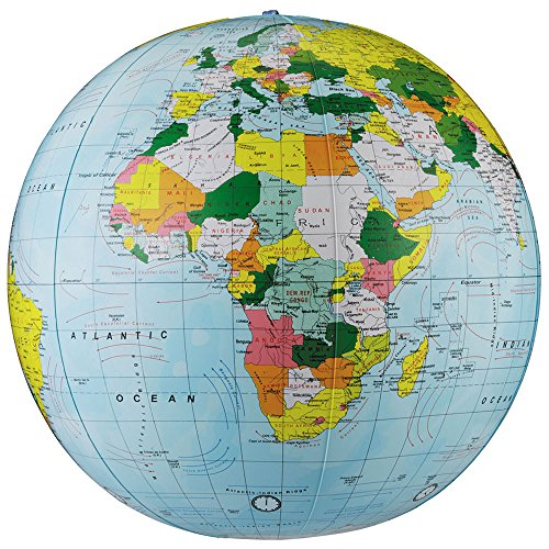 16 Inch Blue Globe - Replogle Globes Inflatable Political Globe, Light Blue Ocean, 16-Inch Diameter