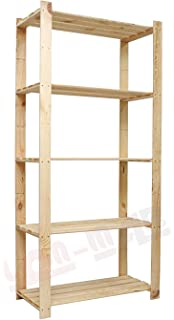 Qtimber 10002102 Wooden Shelving With 4 Shelves / Storage Rack Natural Pine  L Size 170x75x40 Cm