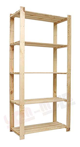 Holzregal  Holzregal 5-Böden-170x80x38 Kellerregal Bücherregal Lagerregal B ...