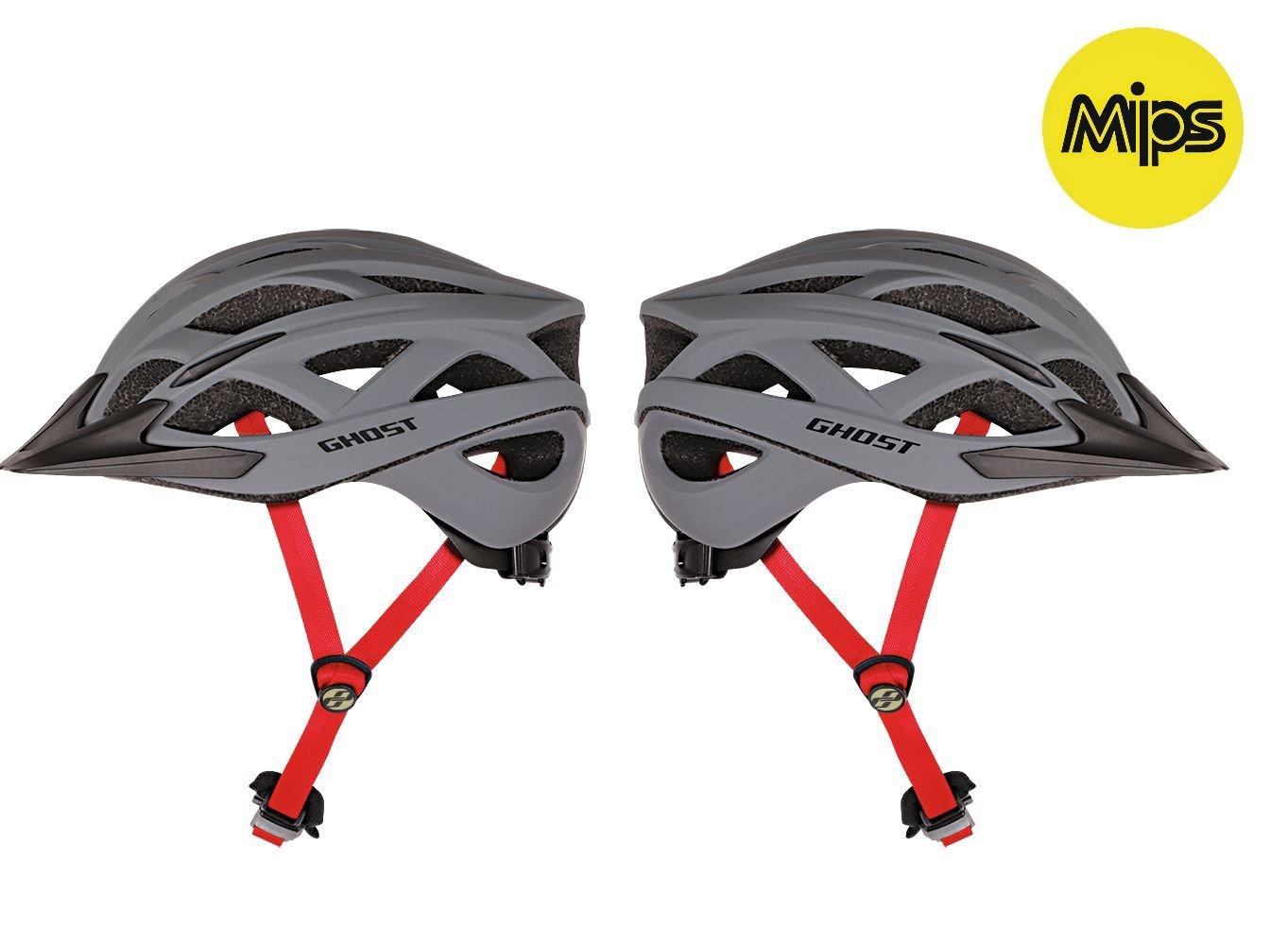 GHOST Helm Classic Plus grau schwarz rot