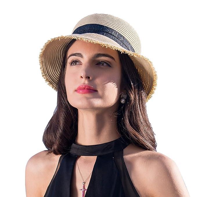 HOYAYO Summer Beach Straw Sun Hats for Women Wide UPF50 Sun Protection Hat  Beige da256a3730a