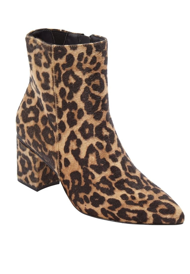 Comfortview Women's Wide The Loreli Bootie B07DX88SVT 9.5 XW US|Leopard